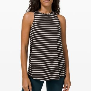 Lululemon black striped all tied up tank top